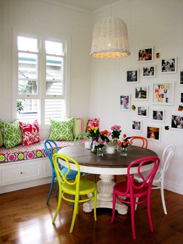 Фотография: Кухня и столовая в стиле Скандинавский, Современный, Эклектика, Декор интерьера, Дизайн интерьера, Цвет в интерьере, Желтый, Розовый, Оранжевый, Неон – фото на INMYROOM