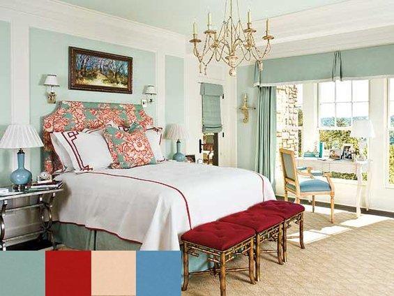 Фотография:  в стиле , Спальня, Декор интерьера, Интерьер комнат, Цвет в интерьере, Цветы – фото на INMYROOM