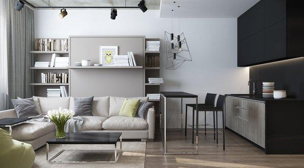 Фотография: Гостиная в стиле Современный, Спальня, Квартира, Студия, Гид, 1 комната – фото на INMYROOM