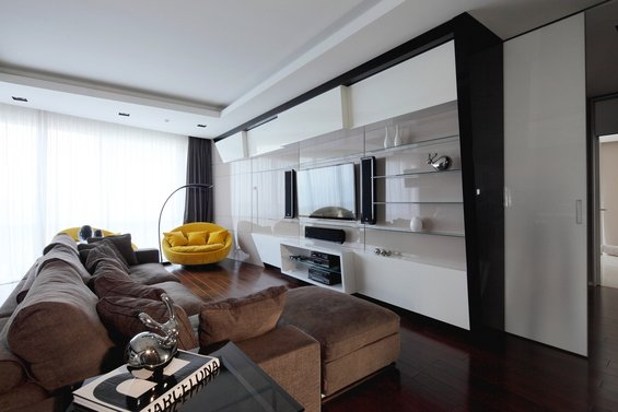 Фотография: Гостиная в стиле Современный, Хай-тек, Квартира, Дома и квартиры – фото на INMYROOM