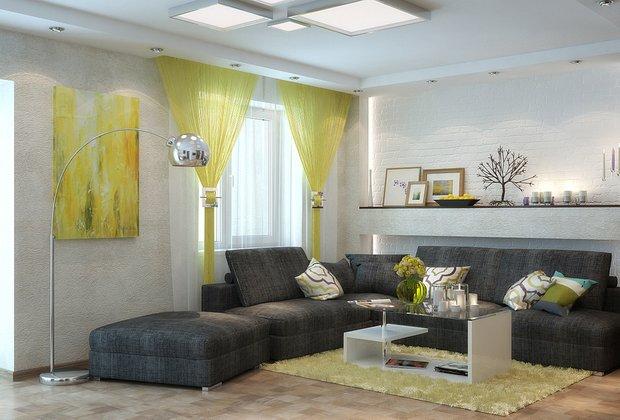 Фотография: Гостиная в стиле Современный, Декор интерьера, Декор, текстиль в интерьере, декор окна, выбор штор для интерьера – фото на INMYROOM