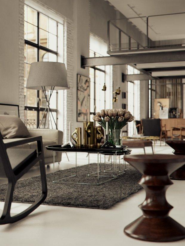 Фотография: Гостиная в стиле Лофт, Декор интерьера, Мебель и свет, Журнальный столик – фото на InMyRoom.ru