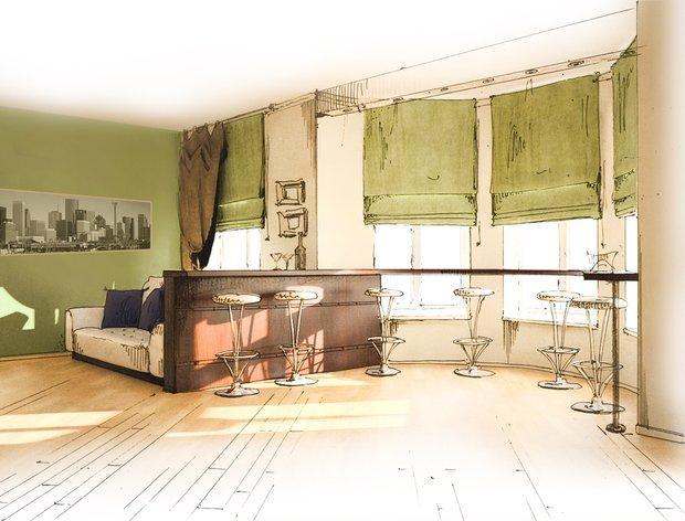 Фотография: Гостиная в стиле Современный, Интерьер комнат, Тема месяца, Шторы – фото на INMYROOM