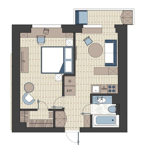 Фотография: Планировки в стиле , Современный, Малогабаритная квартира, Квартира, Советы, Проект недели, Buro Brainstorm, 1 комната, до 40 метров – фото на INMYROOM