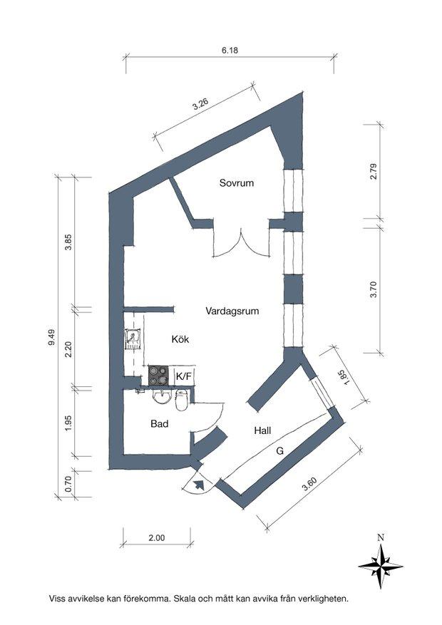 Фотография: Планировки в стиле , Скандинавский, Декор интерьера, Квартира, Швеция, Белый, Гетеборг, 2 комнаты, 40-60 метров – фото на INMYROOM