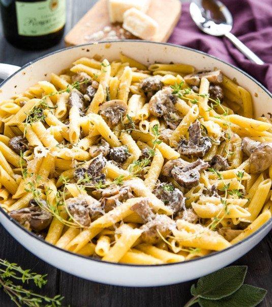 Фотография:  в стиле , Основное блюдо, Вегетарианская, Жарить, Паста, Кулинарные рецепты, Варить, Грибы, 30 минут, Европейская кухня, Просто, Шампиньоны – фото на INMYROOM