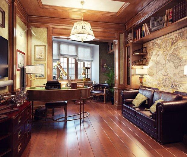 Фотография: Кабинет в стиле Классический, Декор интерьера, Часы, Декор дома, Ткани, Галерея Арбен, Морской, Лампы – фото на INMYROOM