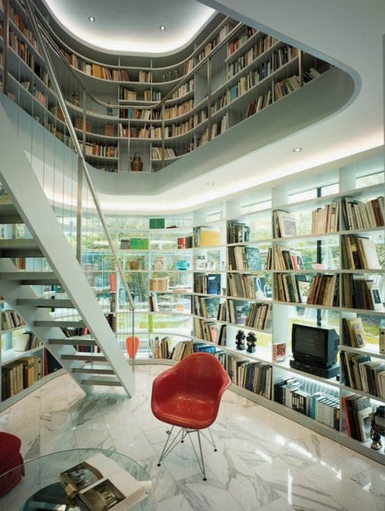 Фотография:  в стиле Скандинавский, Современный, Системы хранения, Библиотека, Домашняя библиотека – фото на InMyRoom.ru
