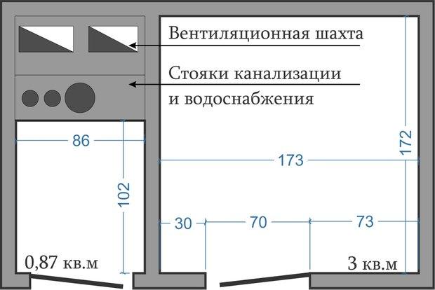 Фотография: Ванная в стиле Современный, Перепланировка, ИП-46с, Анастасия Киселева – фото на InMyRoom.ru