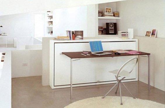 Фотография: Кабинет в стиле Минимализм, Декор интерьера, Малогабаритная квартира, Мебель и свет, Мебель-трансформер – фото на INMYROOM