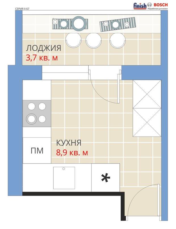 Фотография: Планировки в стиле , Кухня и столовая, Перепланировка, Анастасия Киселева, Максим Джураев, Кирпичный дом, II-67 – фото на INMYROOM