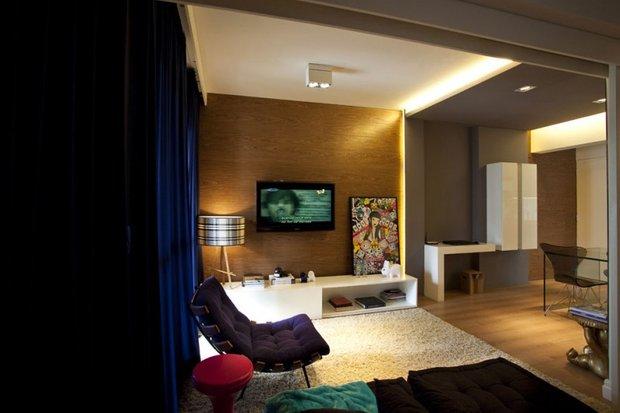 Фотография: Гостиная в стиле Современный, Малогабаритная квартира, Квартира, Дома и квартиры, Бразилия, Сан-Паулу, Перегородки – фото на INMYROOM