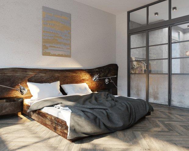 Фотография: Спальня в стиле Лофт, Квартира, Студия, Проект недели, Москва, новостройка, Оксана Цымбалова, Монолитный дом, Более 90 метров – фото на INMYROOM