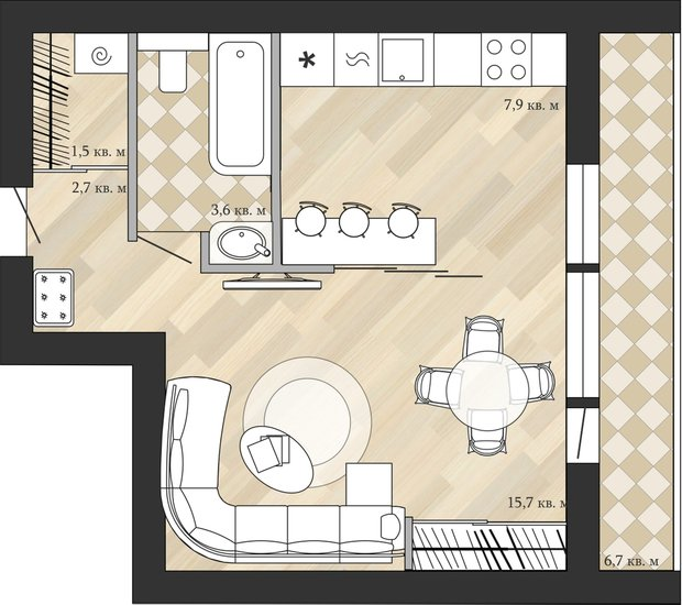 Фотография: Планировки в стиле , Квартира, Перепланировка, Анастасия Киселева, Максим Джураев, II-68-01/16, Панельный дом, 1 комната, до 40 метров – фото на INMYROOM