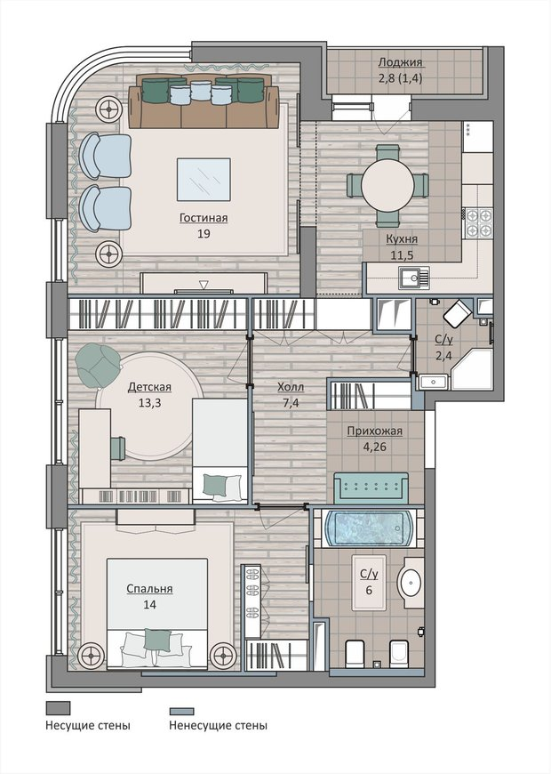 Фотография: Планировки в стиле , Квартира, Перепланировка, Москва, Ирина Леготкина, Монолитный дом, 3 комнаты, 60-90 метров, ЖК «Символ» – фото на INMYROOM