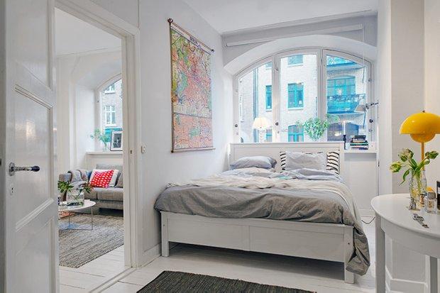 Фотография: Спальня в стиле Скандинавский, Малогабаритная квартира, Квартира, Швеция, Дома и квартиры, Гетеборг – фото на InMyRoom.ru