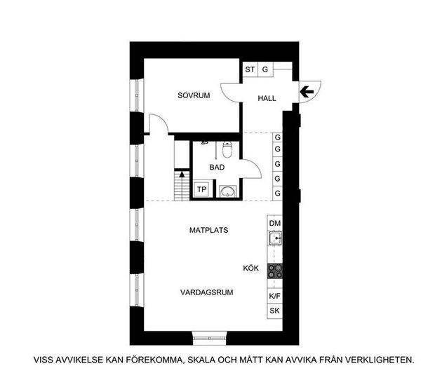 Фотография: Планировки в стиле , Скандинавский, Современный, Эклектика, Декор интерьера, Квартира, Белый, Черный, 2 комнаты, 60-90 метров – фото на INMYROOM