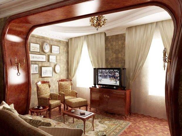 Фото: Классическая гостиная, внутренняя отделка, квартира, дом, отделка - фото INMYROOM