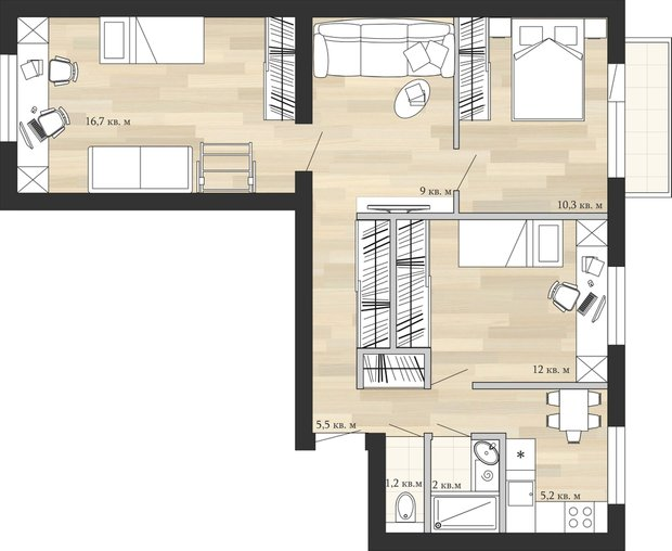 Фотография: Планировки в стиле , Перепланировка, дом серии II-29, Анастасия Киселева, Максим Джураев, П-29 – фото на INMYROOM