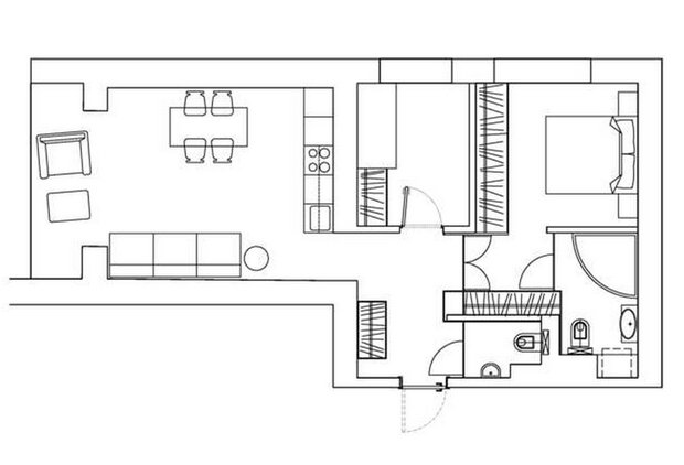 Фотография: Планировки в стиле , Скандинавский, Квартира, Цвет в интерьере, Дома и квартиры, Перепланировка, Серый – фото на INMYROOM