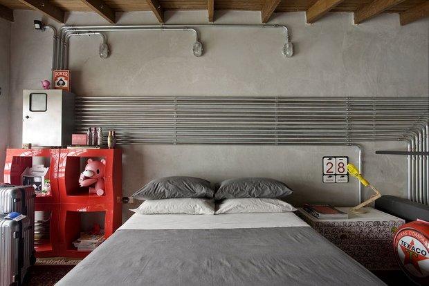 Фотография: Спальня в стиле Лофт, Современный, Квартира, Дома и квартиры, Интерьеры звезд – фото на INMYROOM