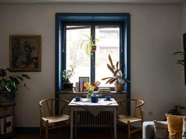 Фотография:  в стиле , Скандинавский, Квартира, Советы, Белый, Синий, Серый, 1 комната, до 40 метров – фото на INMYROOM