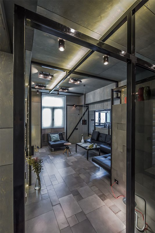 Фотография: Гостиная в стиле Современный, Хай-тек, Интерьер комнат, Переделка, Индустриальный – фото на INMYROOM