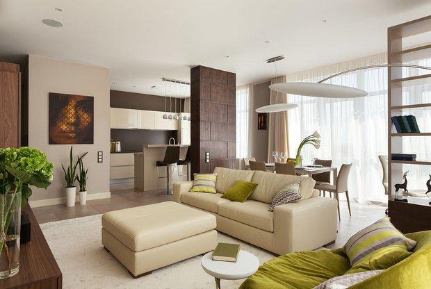 Фотография: Гостиная в стиле Современный, Эко, Классический, Квартира, Проект недели – фото на INMYROOM