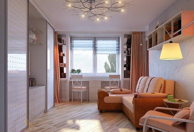 Фотография: Гостиная в стиле Современный, Скандинавский, Малогабаритная квартира, Квартира, Мебель и свет, Советы – фото на INMYROOM