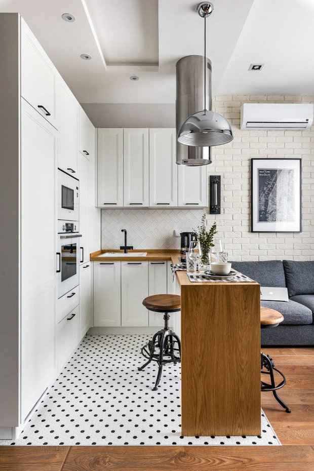 Фотография: Кухня и столовая в стиле Скандинавский, Классический, Лофт, Декор интерьера, Студия, Планировки, Белый, Черный, до 40 метров – фото на INMYROOM
