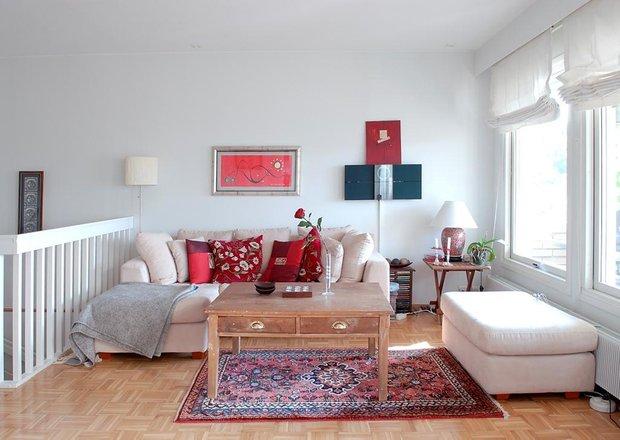 Фотография: Гостиная в стиле Скандинавский, Текстиль, Дизайн интерьера, Ремонт, Краска – фото на INMYROOM