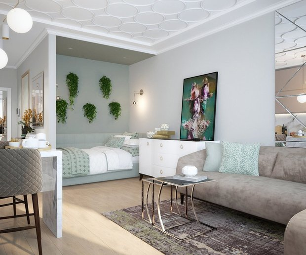 Фотография: Гостиная в стиле Современный, Кухня и столовая, Декор интерьера, Студия, Серый, Розовый, до 40 метров, Инна Азорская – фото на INMYROOM