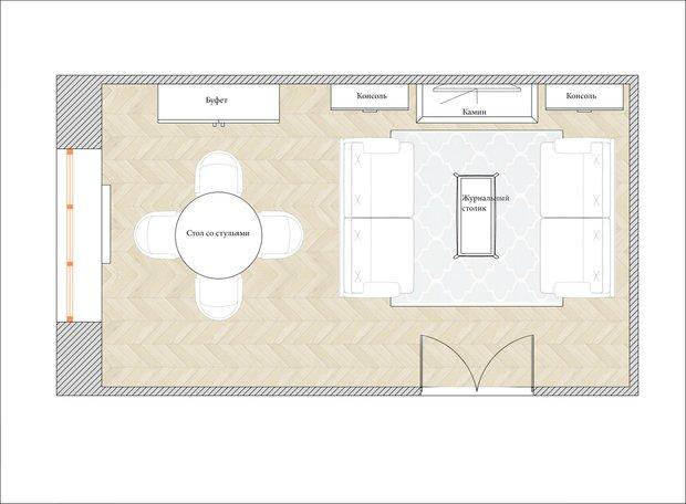 Планировка гостиной в классическом стиле