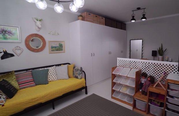 Фотография:  в стиле , Гостиная, Детская, Скандинавский, Квартира, Планировки, Советы, идеи для малогабаритки, 1 комната, до 40 метров – фото на INMYROOM