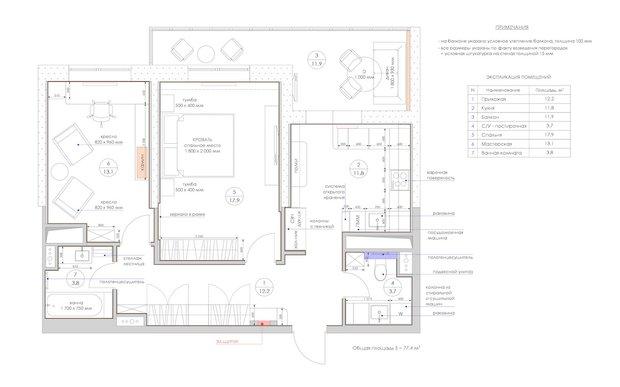 Пример плана расстановки мебели из проекта студии «Уютная Квартира»