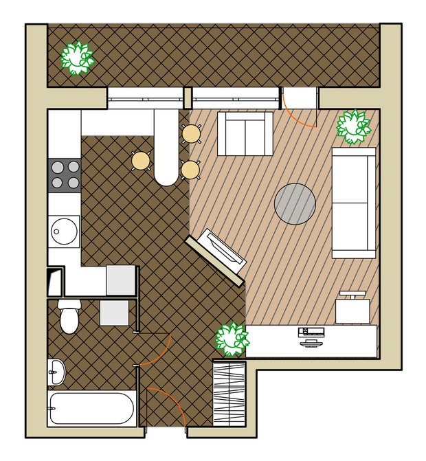 Фотография: Планировки в стиле , Малогабаритная квартира, Квартира, Дома и квартиры, Перепланировка, Блочный дом, II-68 – фото на InMyRoom.ru