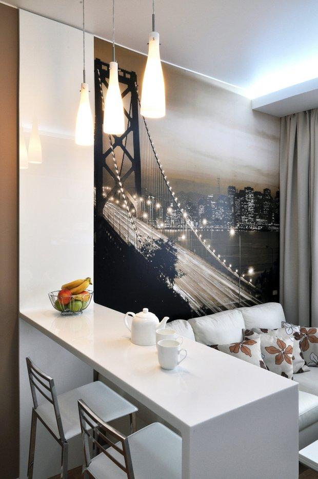 Фотография: Мебель и свет в стиле Лофт, Современный, Кухня и столовая, Гостиная, Малогабаритная квартира, Квартира, Интерьер комнат, Фотообои – фото на INMYROOM