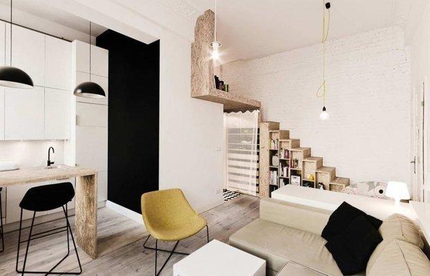 Фотография: Гостиная в стиле Современный, Малогабаритная квартира, Гид, энциклодпедия_малогабаритка – фото на INMYROOM