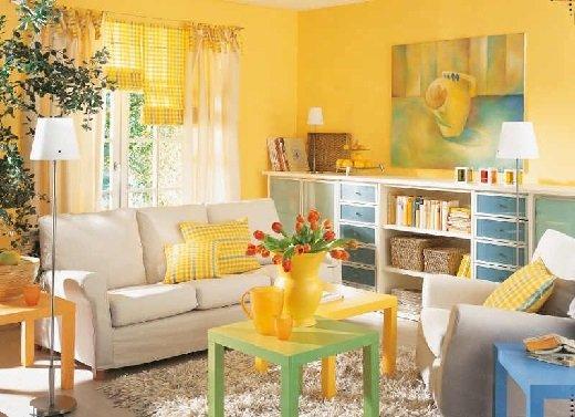 Фотография: Гостиная в стиле , Декор интерьера, Дизайн интерьера, Цвет в интерьере, Желтый – фото на INMYROOM