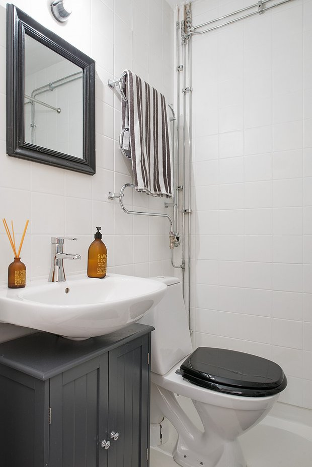 Фотография: Ванная в стиле Скандинавский, Эклектика, Малогабаритная квартира, Квартира – фото на InMyRoom.ru