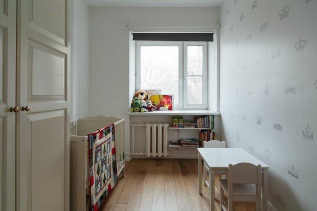 Фотография: Детская в стиле Скандинавский, Квартира, Цвет в интерьере, Дома и квартиры, Перепланировка, Серый – фото на INMYROOM