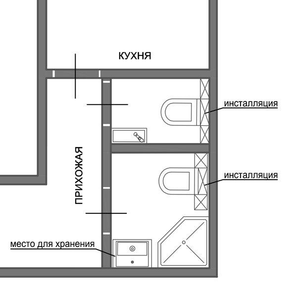 Фотография: Офис в стиле Лофт, Ванная, 8, Перепланировка, планировка санузла, санузел в двухкомнатной квартире дома серии 83, перепланировка маленького санузла, планировка для маленького санузла – фото на INMYROOM