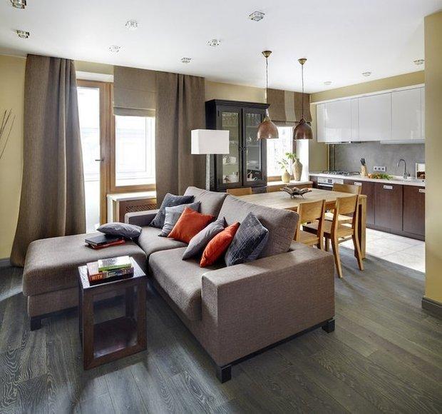 Фотография: Гостиная в стиле Современный, Эко, Кухня и столовая, Малогабаритная квартира, Квартира, Дома и квартиры – фото на INMYROOM