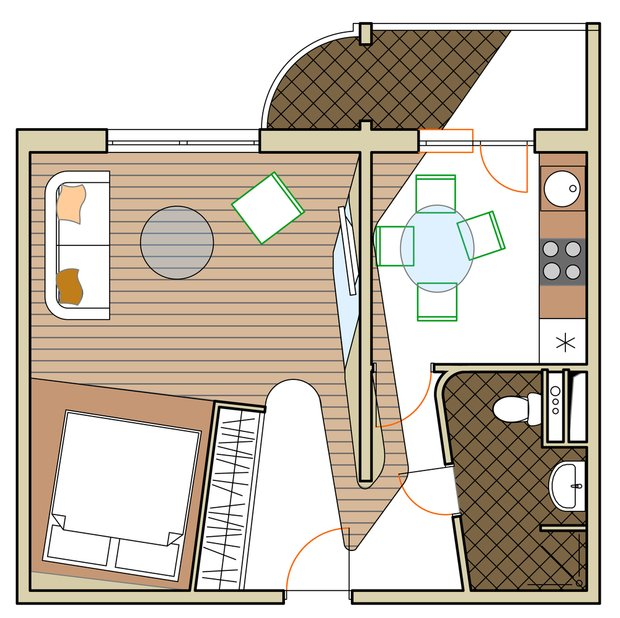Фотография: Планировки в стиле , Квартира, Дома и квартиры, Перепланировка, Переделка, П-111М, Панельный дом, 1 комната, 40-60 метров – фото на INMYROOM