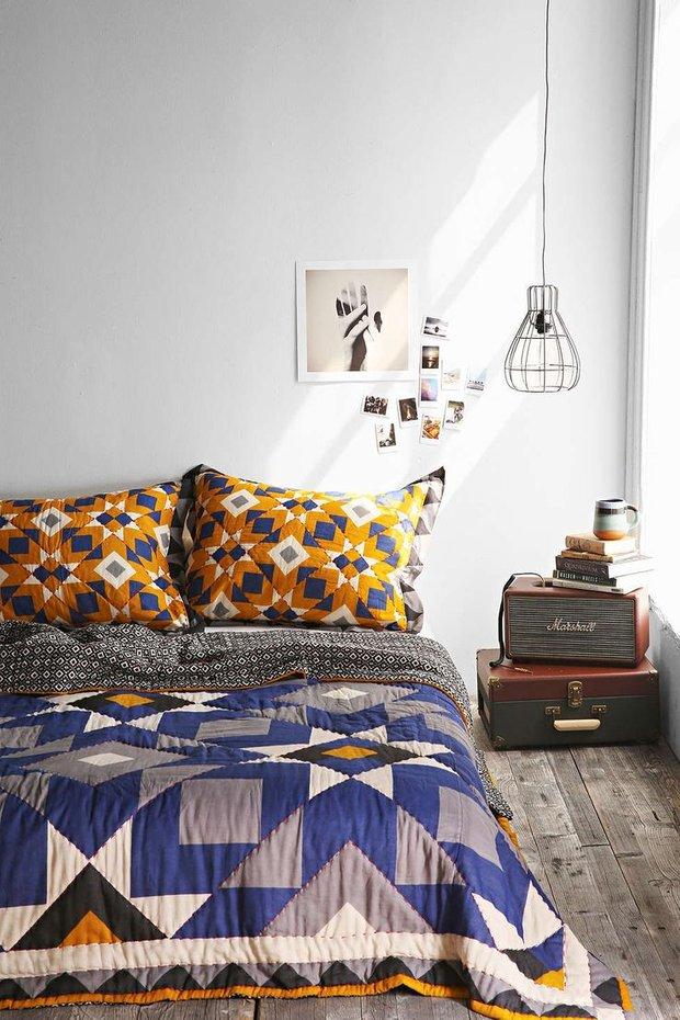 Фотография: Спальня в стиле Скандинавский, Декор интерьера, Текстиль, Декор, Декор дома, Пэчворк – фото на INMYROOM