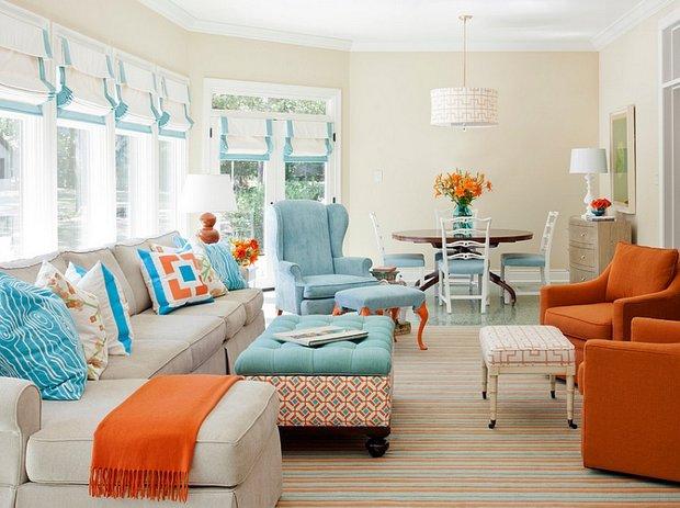 Фотография: Гостиная в стиле Восточный, Декор интерьера, Декор, Белый, Зеленый, Бежевый, Синий, Голубой, Оранжевый, Бирюзовый – фото на INMYROOM
