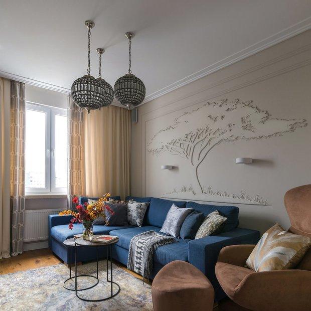 Фотография: Гостиная в стиле Эклектика, Декор интерьера, Декоративная штукатурка, декор стен, Loggia, микроцемент – фото на INMYROOM
