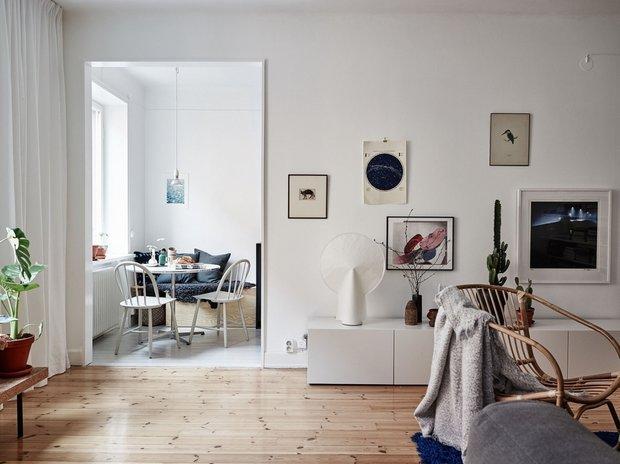 Фотография: Гостиная в стиле Скандинавский, Декор интерьера, Малогабаритная квартира, Квартира, Швеция, Стокгольм, дизайн-хаки, идеи для малогабаритки, 2 комнаты – фото на INMYROOM
