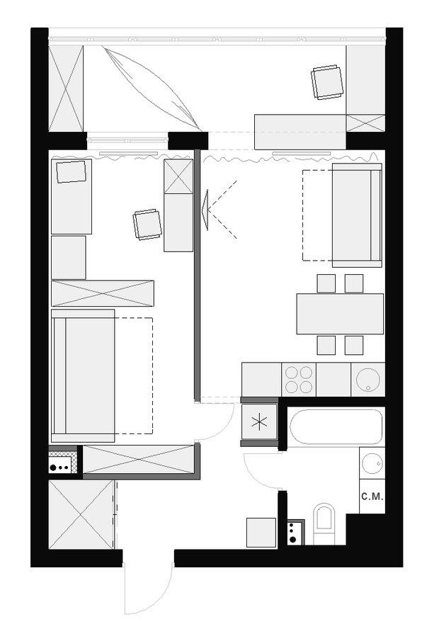 Фотография: Планировки в стиле , Квартира, Дома и квартиры, Переделка – фото на INMYROOM