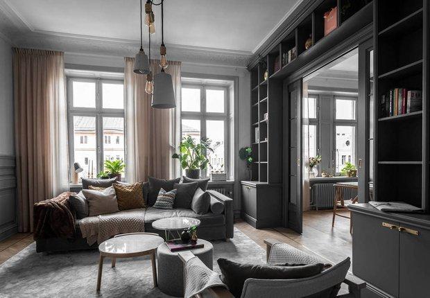 Фотография: Гостиная в стиле Скандинавский, Классический, Декор интерьера, Швеция, Бежевый, Стокгольм, Серый, 3 комнаты, 60-90 метров – фото на INMYROOM